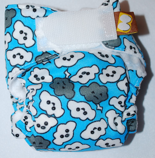 Cranky Clouds on  Blue Preemie Diaper (size 1)