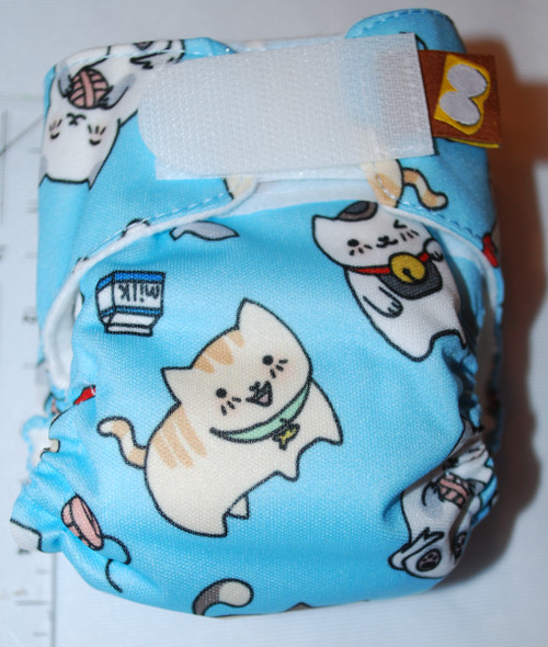 Cats on  Blue Preemie Diaper (size 1)