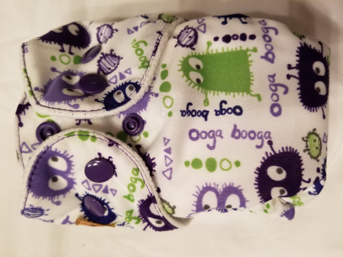 Purple  ooga booga AIO Newborn Diaper