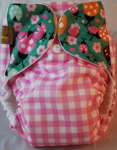Pink Gingham/Flowers  AIO Newborn Diaper
