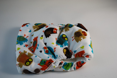 Large (27-34 lbs) Retro Owls Side Snap AIO Diaper