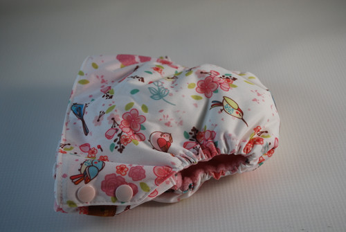 Pretty Birds Large (27-34 lbs) Side Snap AIO Diaper