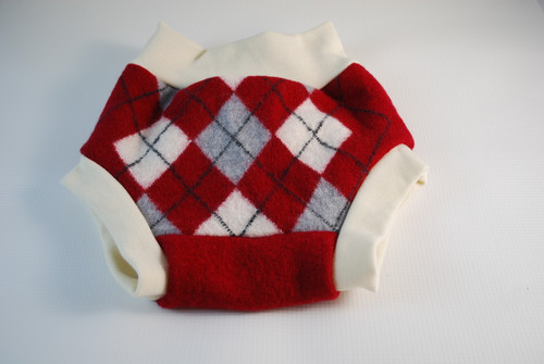 Large (12-18 months)  Red Argyle Merino Wool Diaper Cover