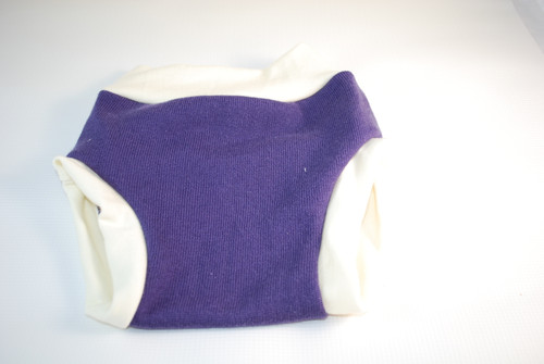 Large (12-18 months) Purple Merino Wool Blend Diaper Cover
