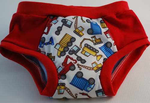 Construction Vehicles/Red Partially Waterproof Training Pants Size 3T