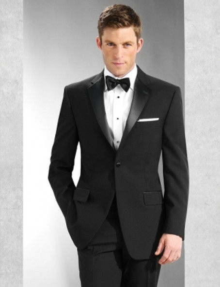 Poly One-Button, Notch Satin Lapel. Traditional Fit