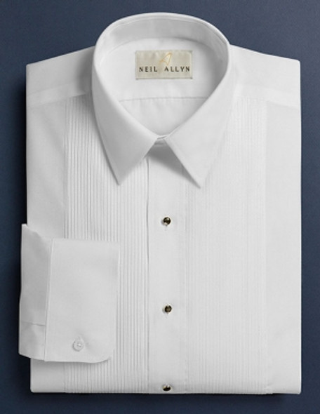 Men's White 1/8 inch pleat Laydown Collar Tuxedo shirt. 65/35 poly cotton with Convertible Cuffs.