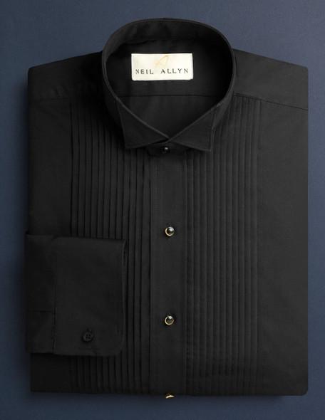 Men's Black 1/4 Inch Pleat Shirt