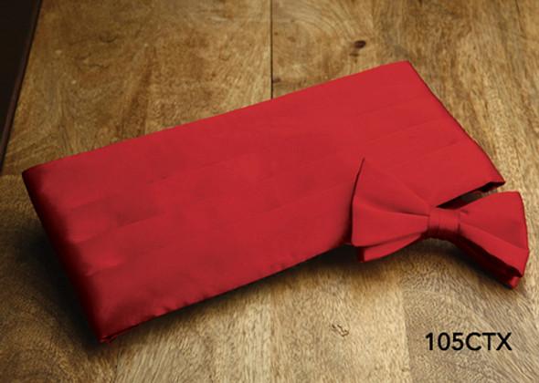 Boxed Red Satin Cummerbund and Bow Tie Set