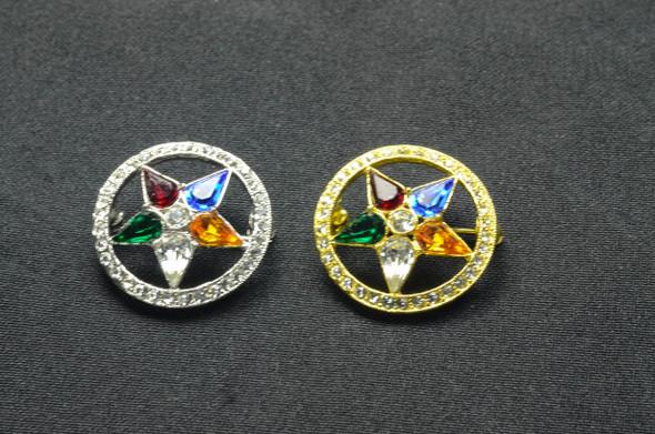 Jeweled Member Pin - Lg. Star in Circle ..