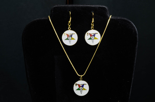 Matron Disk Star Jewelry Set. Earrings and/or Necklace. Available in gold or silver tones.
