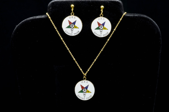 Grand Page Disk Star Jewelry Set. Earrings and/or Necklace. Available in gold tone only.
