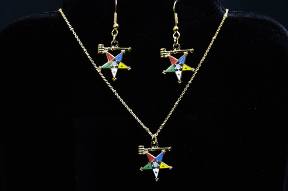 Matron Star Jewelry Set. Earrings and/or Necklace. Available in gold or silver tones.