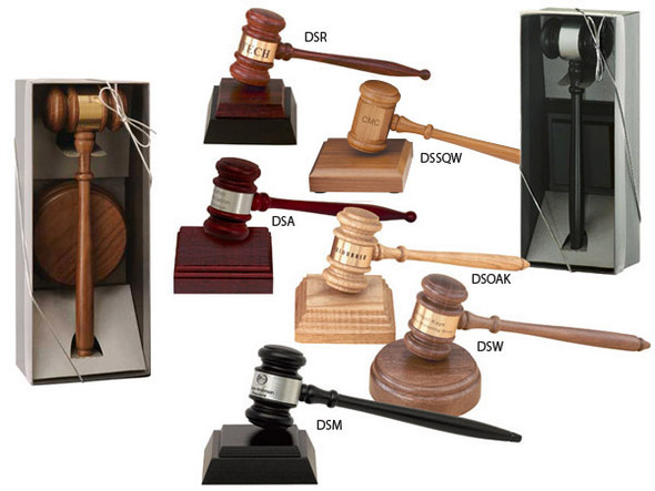 "Directors Gavel Boxed Set - Includes 10-1/2"" Gavel, Sound Block and engraving band. Presented in a charcoal trimmed acetate box. There is an additional engraving charge."