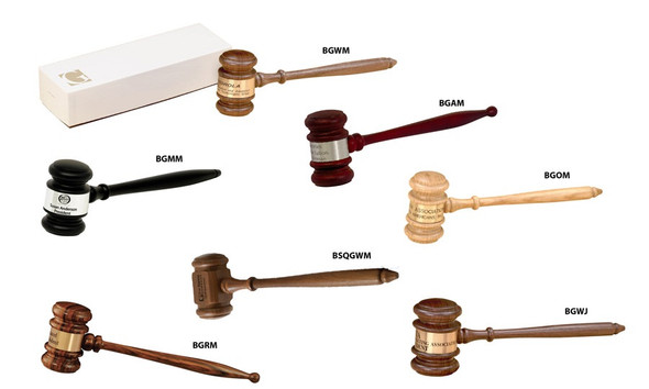 "Gavels Gift Boxed  -  Includes 10-1/2""Gavel and engraving band. Presented in a glossy White jewelers box. There is an additional engraving charge."