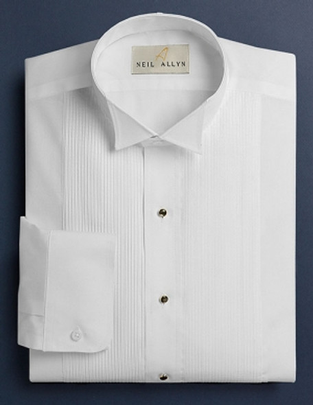 Men's White 1/8 inch pleat Wing Collar Tuxedo Shirt. 65/35 poly cotton blend with convertible cuffs.