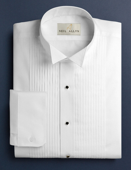 Men's White 1/4 inch Pleat Wing Collar Tuxedo Shirt.65/35 poly cotton blend with convertible Cuffs.