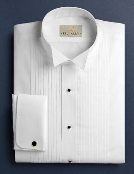 Men's White 1/4 inch Pleat Wing Collar Tuxedo Shirt. French Cuffs. 100% cotton.