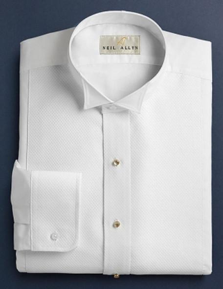 Men's White Pique Tuxedo Shirt. Wing Collar 65/35 poly cotton blend with convertible cuffs.