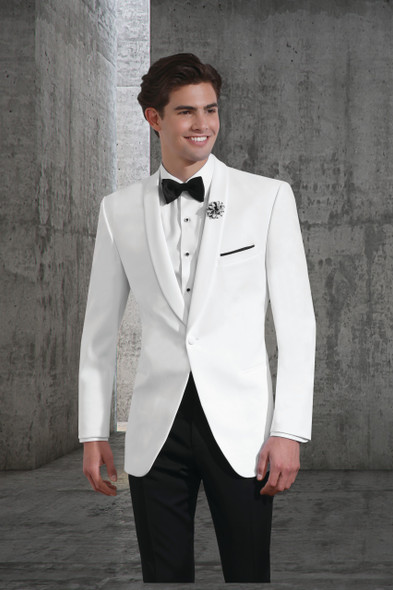 Poly One-Button White Shawl Dinner Jacket. Traditional Fit