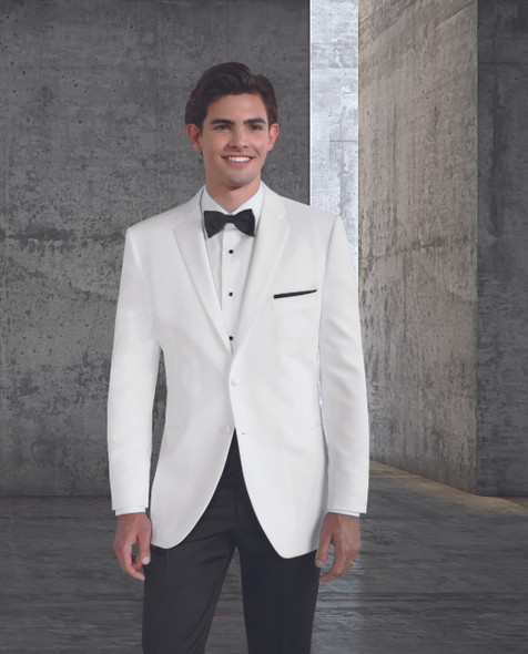 Poly Two-Button, Notch Satin Lapel Dinner Jacket. Traditional Fit