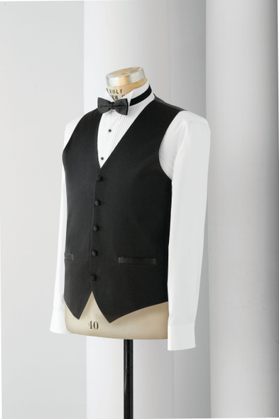 5 Button Satin Vest with Functioning Welt Pockets & Tunnel Elastic for Fit Adjustments.