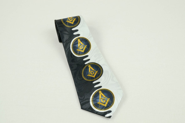 Black & White Poly Tie with Square & Compasses