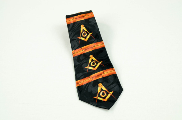 Black and Brick Poly Tie with Square and Compasses