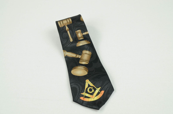 Black Poly Past Master's Tie with Gavel, Square and Compasses