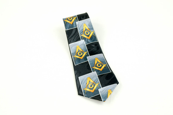 Black Poly Tie with Square and Compasses in Rectangles