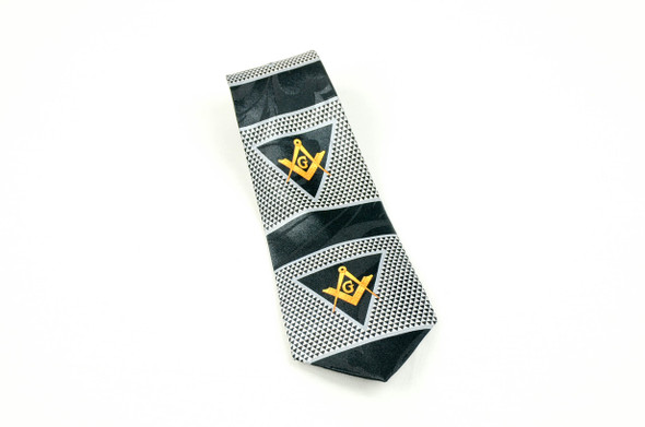 Black and White Poly Tie with Square and Compasses in Triangle