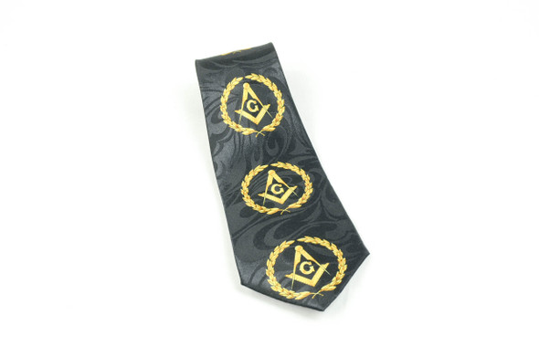 Black Poly Tie with Square and Compasses within Wreath