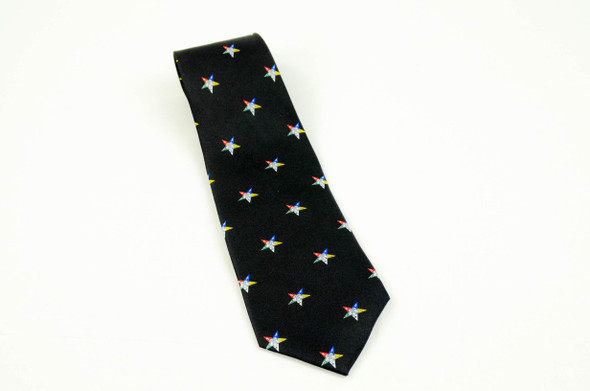 Black Silk Tie with Eastern Star