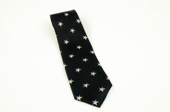 Black Silk Tie with Eastern Star