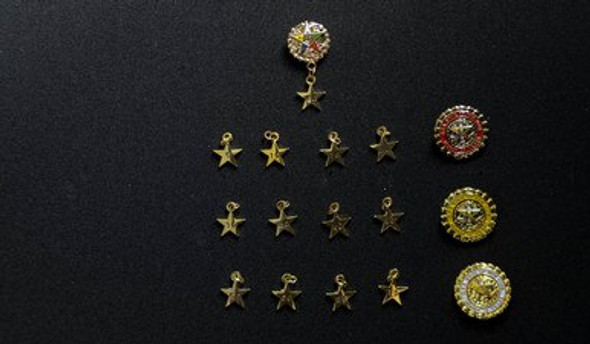 New York Anniversary Star Pins. Years 5 through 80 with the Special Anniversary Years of 25, 50 and 75.