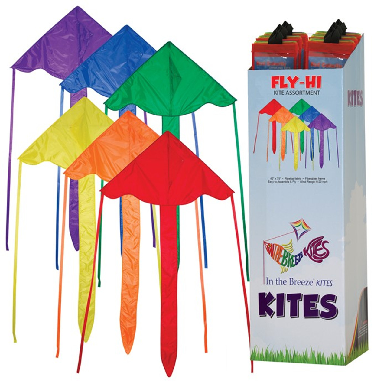 "(12 Pack) 43"" Multi-Colored Fly-Hi Kites"