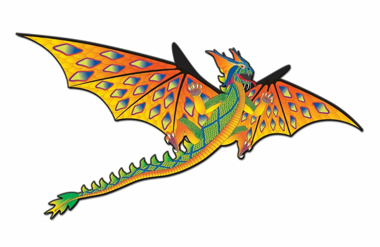 "76"" 3D Dragon Kite (Green/Yellow)"