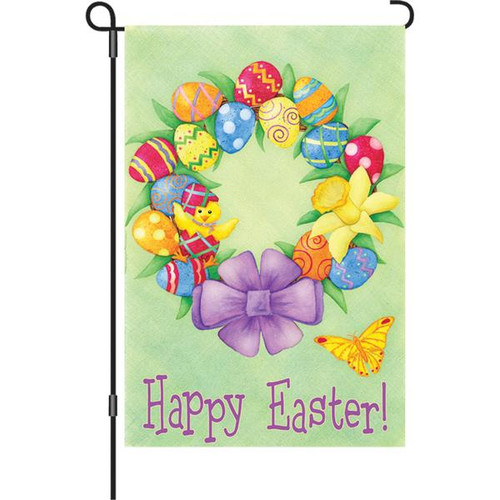 12 in. Flag - Happy Easter Wreath