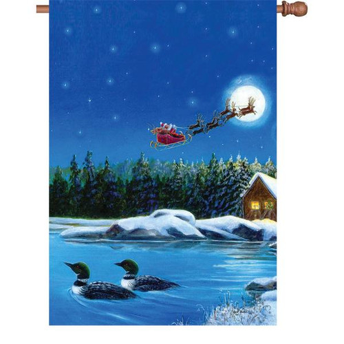 28 in. Flag - Christmas Loons