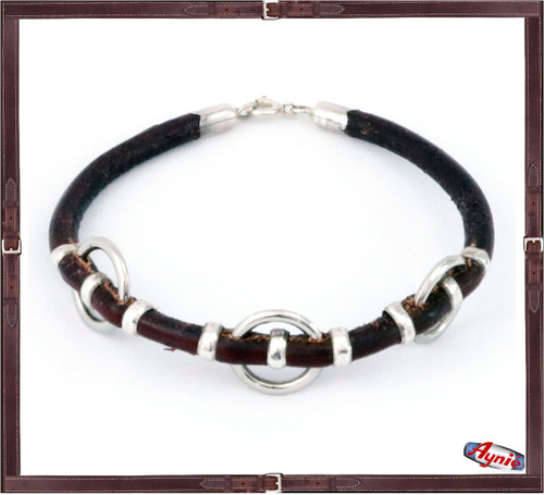 Leather and Three Silver Rings Bracelet