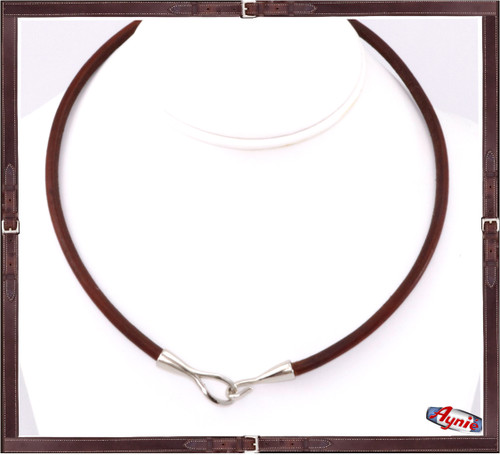 Silver Hook and Leather Cord