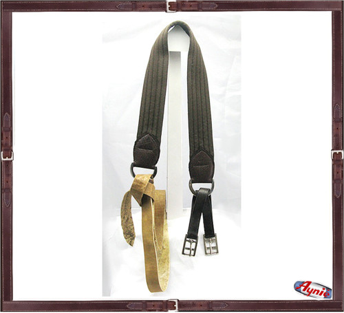 Nylon Webbing Girth with Rawhide strap