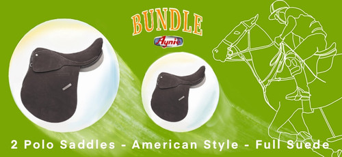 2 x American style polo saddle full suede dark brown color.