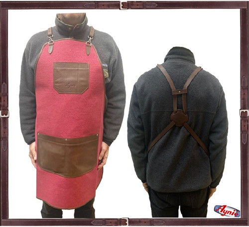 Red Canvas and Leather Groomer Apron