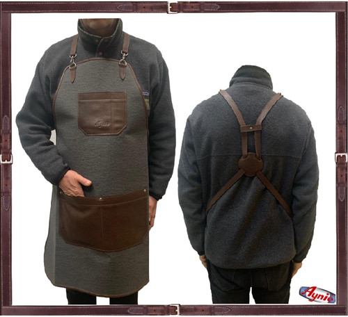 Grey Canvas and Leather Groomer Apron