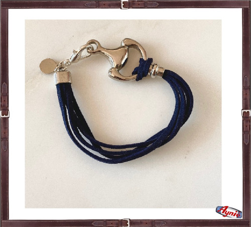 Bracelet Blue Suede  and 1/2 horse bit