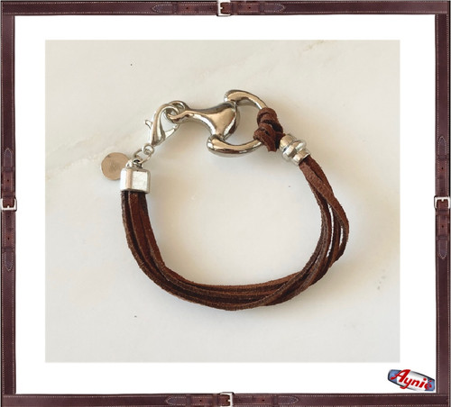 Bracelet Brown Suede  and 1/2 horse bit