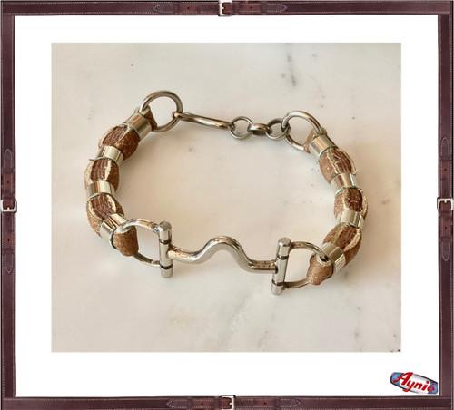 Bracelet Alpaca Horse Bit and Rawhide