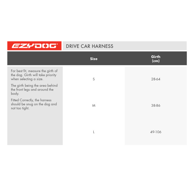 Drive Harness Size Chart