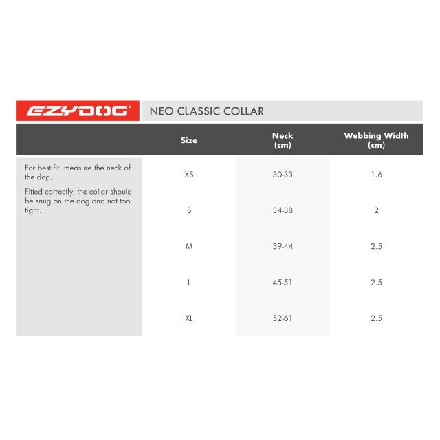 Size Chart - EzyDog Collar